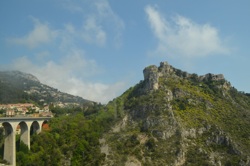 Looking out the window from the bus to the village of Eze, France