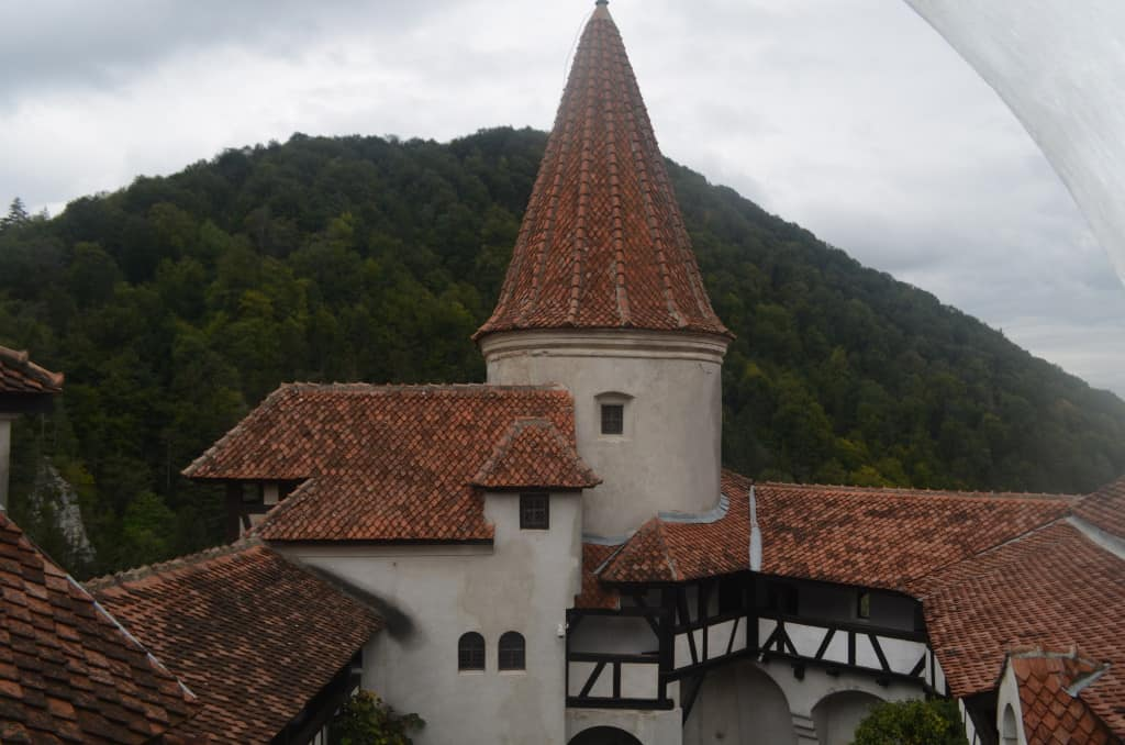 Looking at the walls of Bran Castle