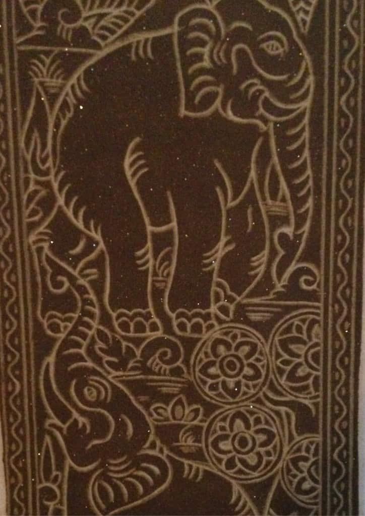 Sandstone elephant carving