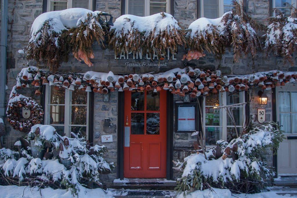 Quebec City in Winter- Rue du Petit Champlain restaurant
