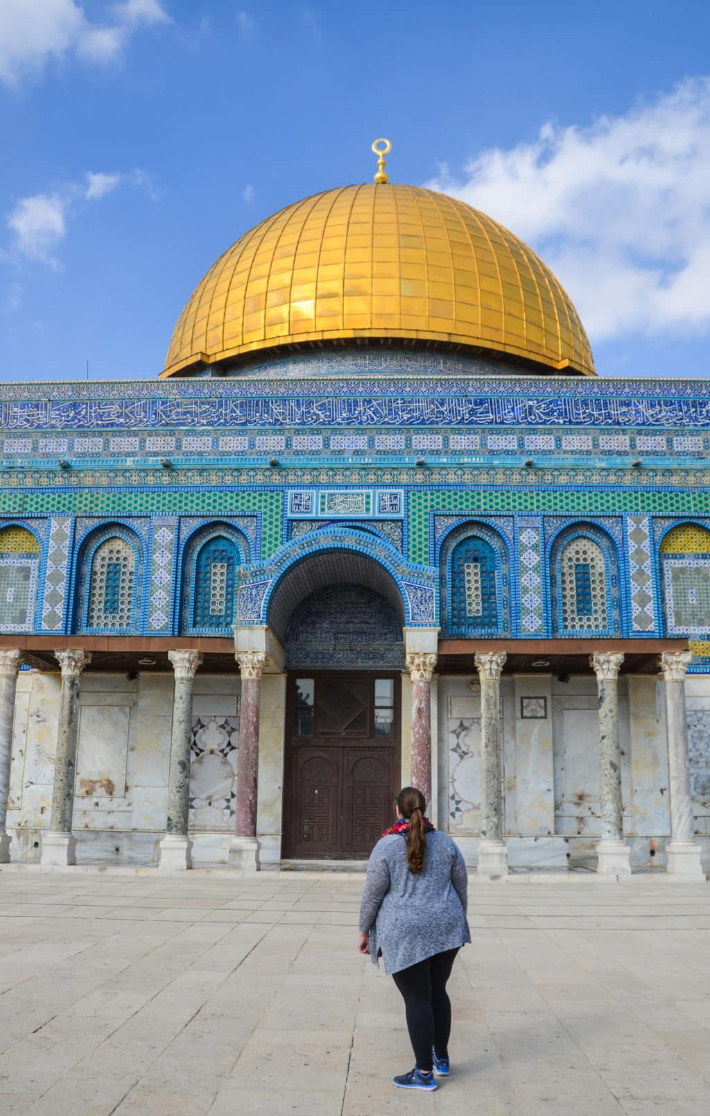 Golden dome and blue walls of the Dome of the Rock on Temple Mount, Jerusalem
