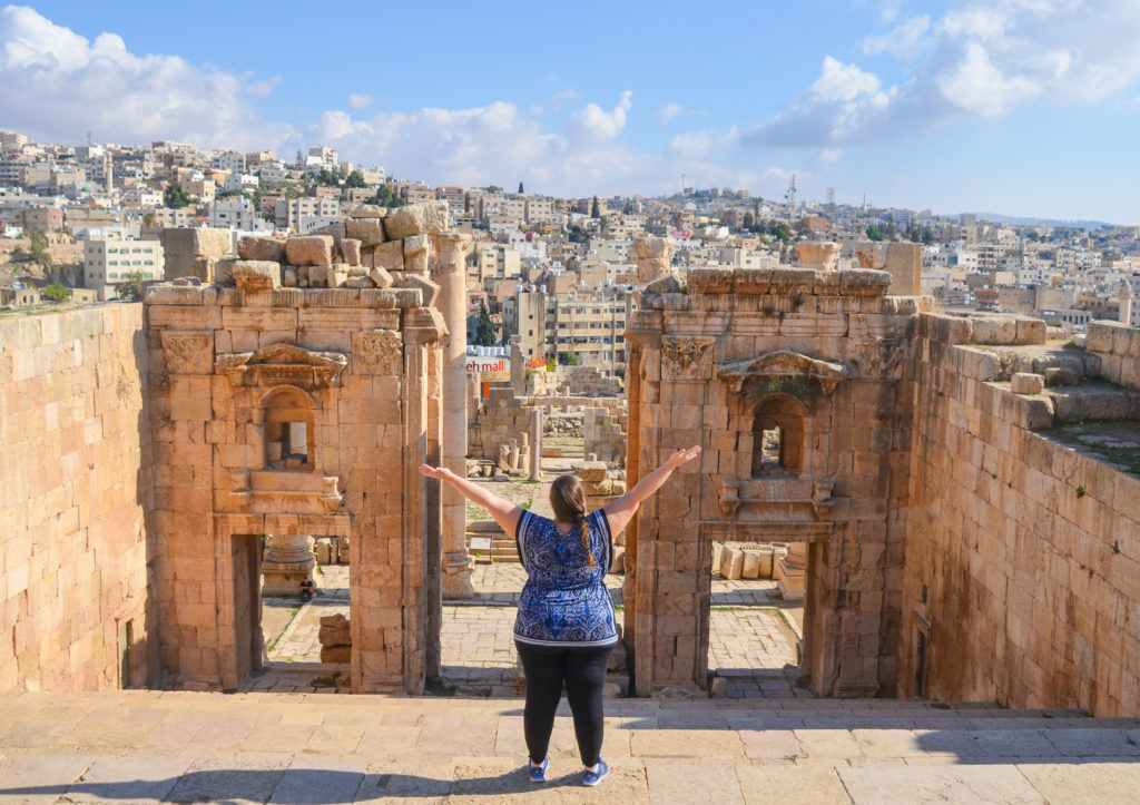 Girl looking over the ruins of Jerash, Jordan