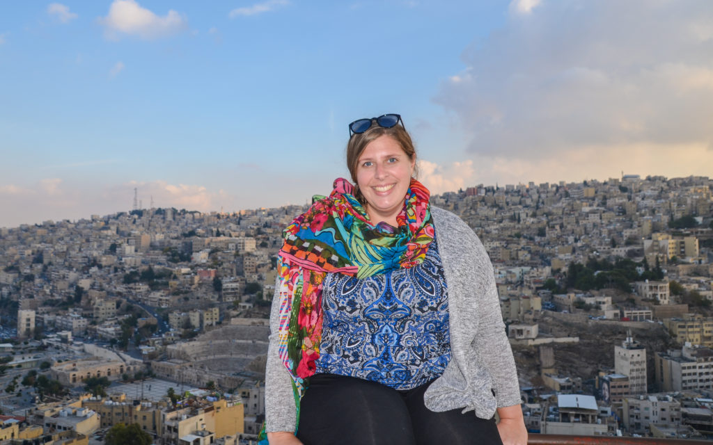 Smiling from the top of the Citadel in Amman, Jordan