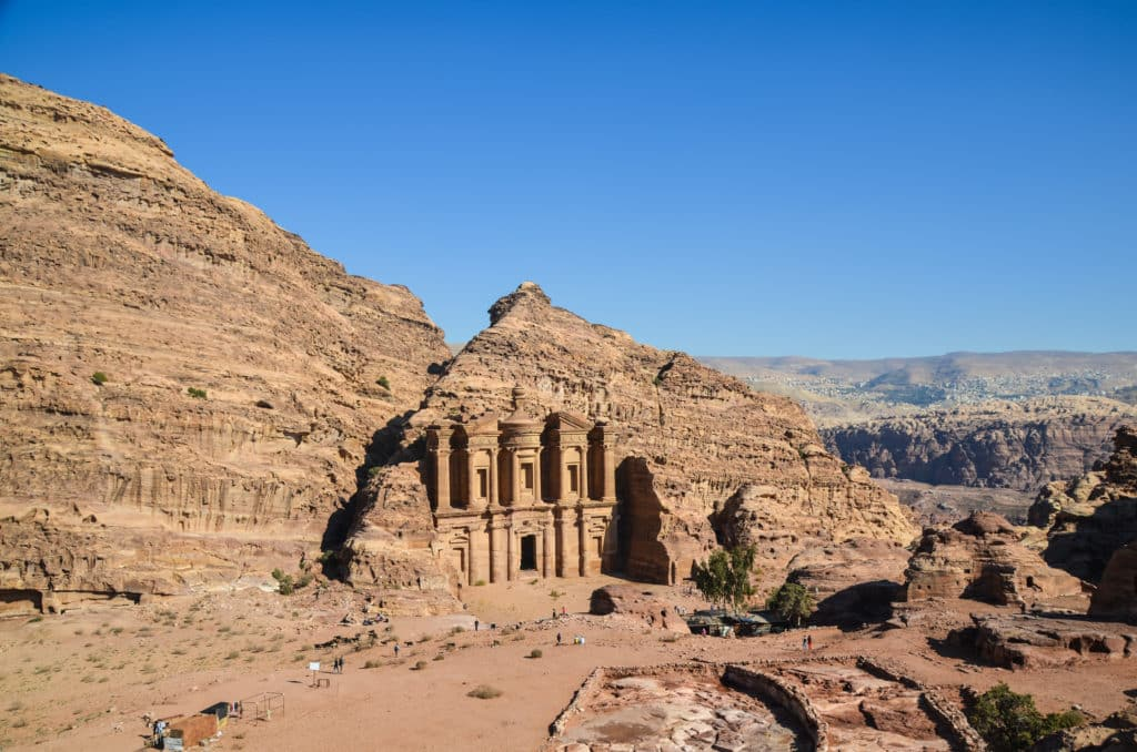 Looking down at the Petra Monastery from nearby mountain