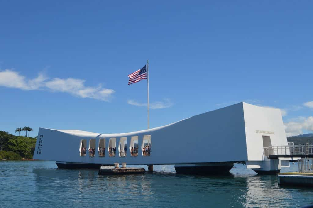 Pearl Harbor and American flag