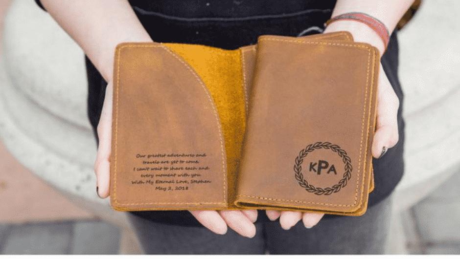 Engraved passport wallet