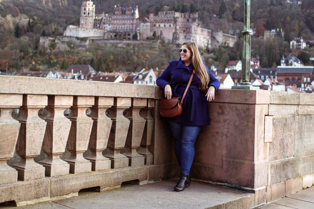 Hannah standing on the bridge in Heidelberg