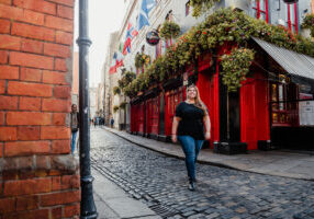Hannah Logan walking through Temple Bar District, Dublin